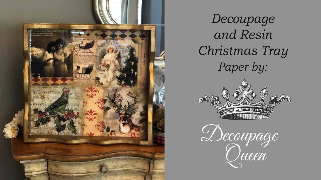 Christmas Tray with Decoupage Queen Paper and Resin