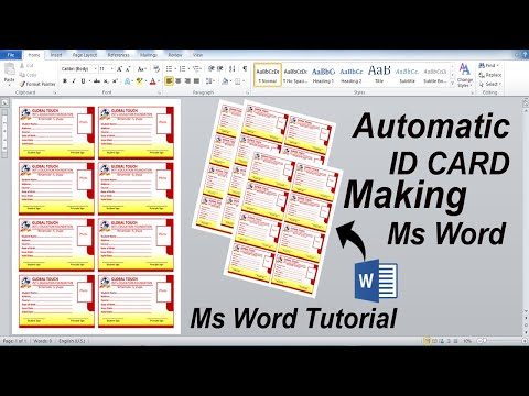 Automatic Id Card Create in Microsoft Office word   A4 Size Print Ready   Ms Word Tutorial