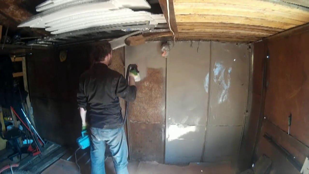 Покраска гаража краскопультом BORT BFP-500 - YouTube