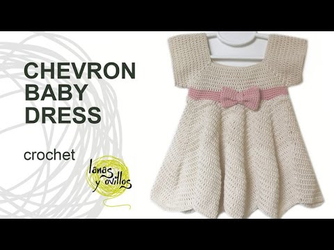 Tutorial Crochet Chevron Baby Dress in English - YouTube