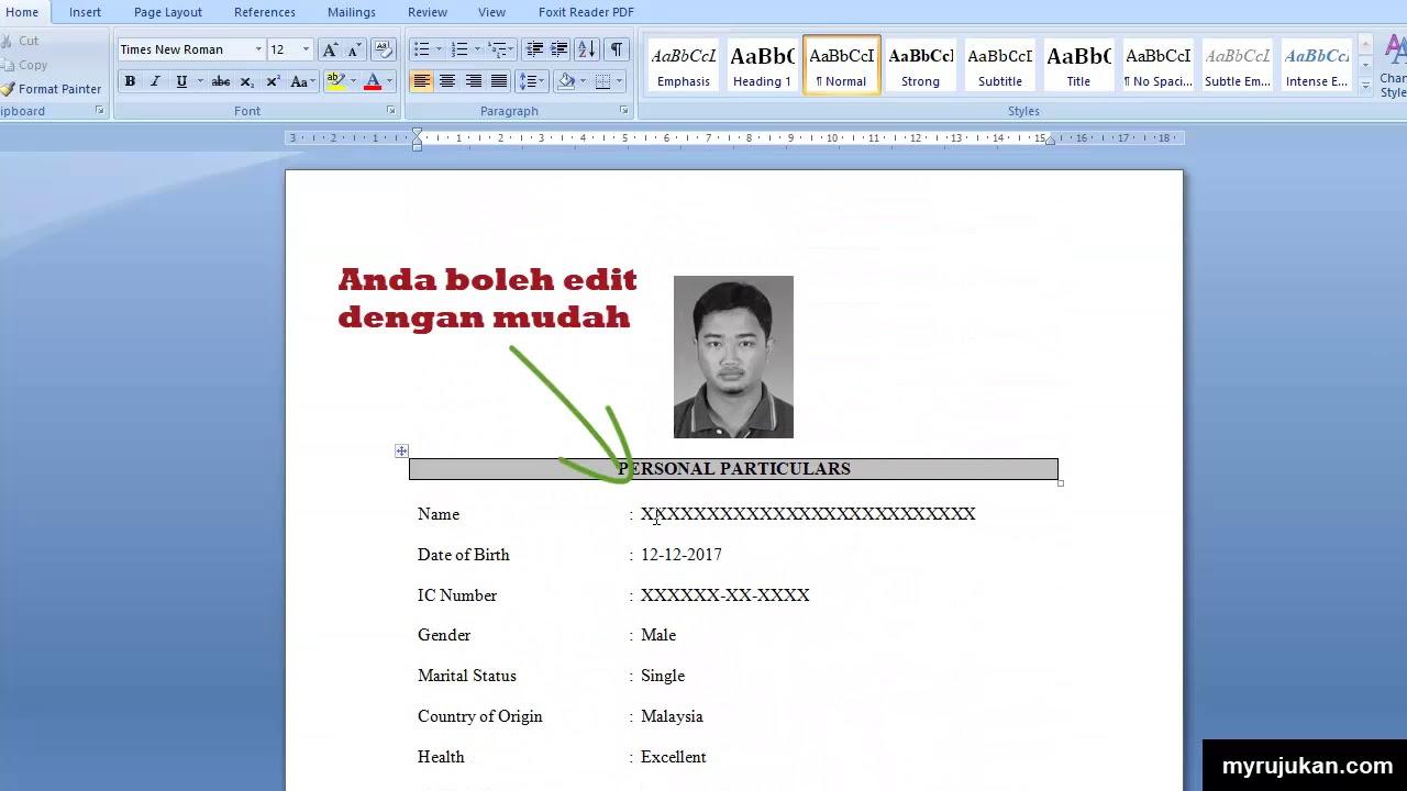 Contoh Resume Mohon Kerja | Resume for You