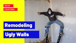 How to Renovate and Remodel Old Walls skim coating after Removing Wallpaper
