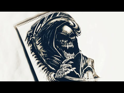 How To Draw Grim Reaper Evil Tattoo Design | Body Tattoo | 2018 Update