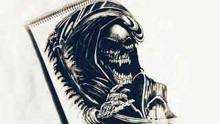 How to draw Grim Reaper Evil Tattoo Design