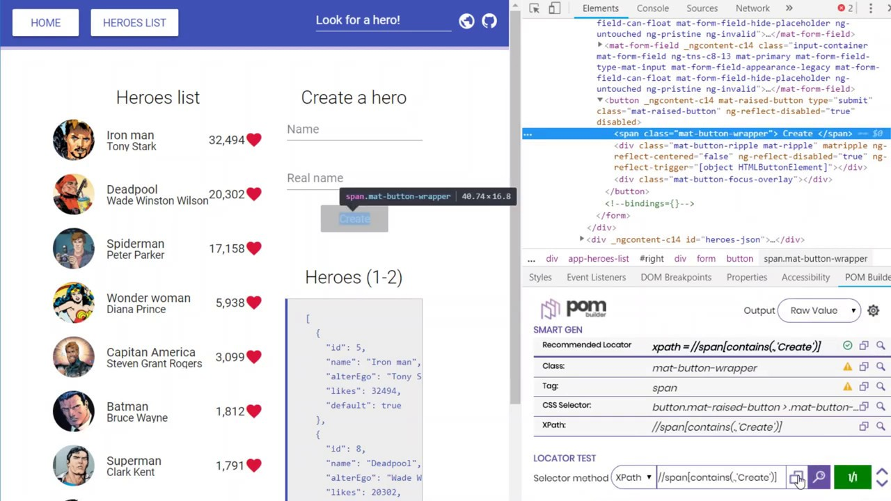 POM Builder - Auto-generate element locators including XPath