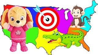 Paw Patrol Skye Throws a Dart at Map with Old MacDonald's Nursery Rhyme