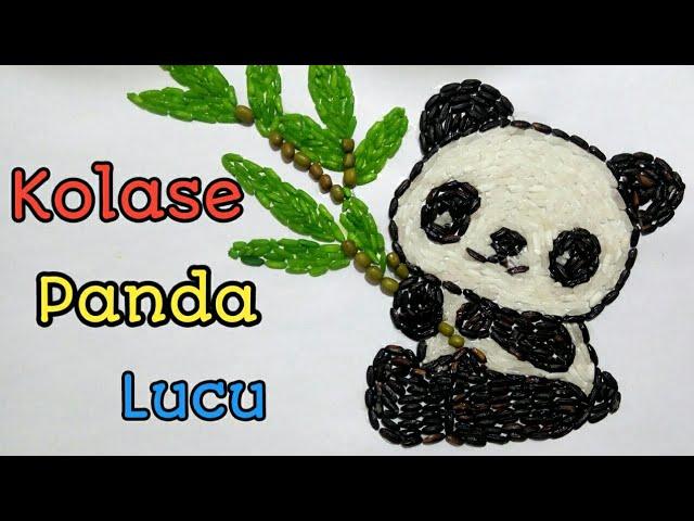 Cara Mudah Membuat Kolase Kolase Hewan Panda Kolase Dari Biji Bijian Youtube