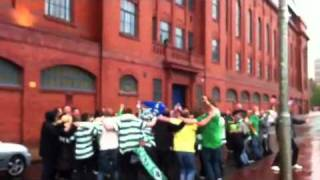 Ibrox huddle after Neil Lennons first Scottish Cup win Hail Hail