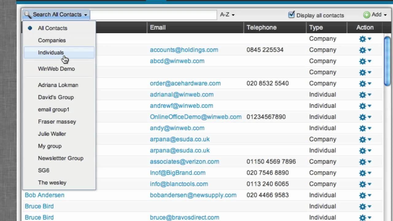 winweb online addressbook youtube