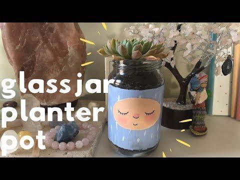 Repurposing Old Glass Jar into Planter Pot