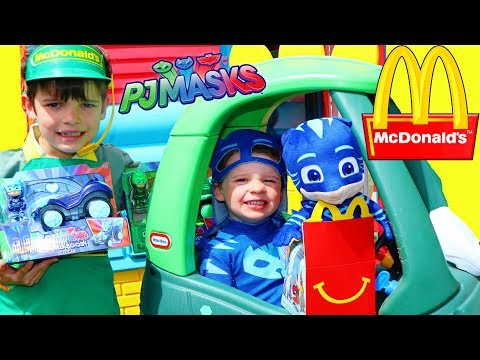 PJ Masks CATBOY At McDonald's DRIVE THRU FREE FOOD!