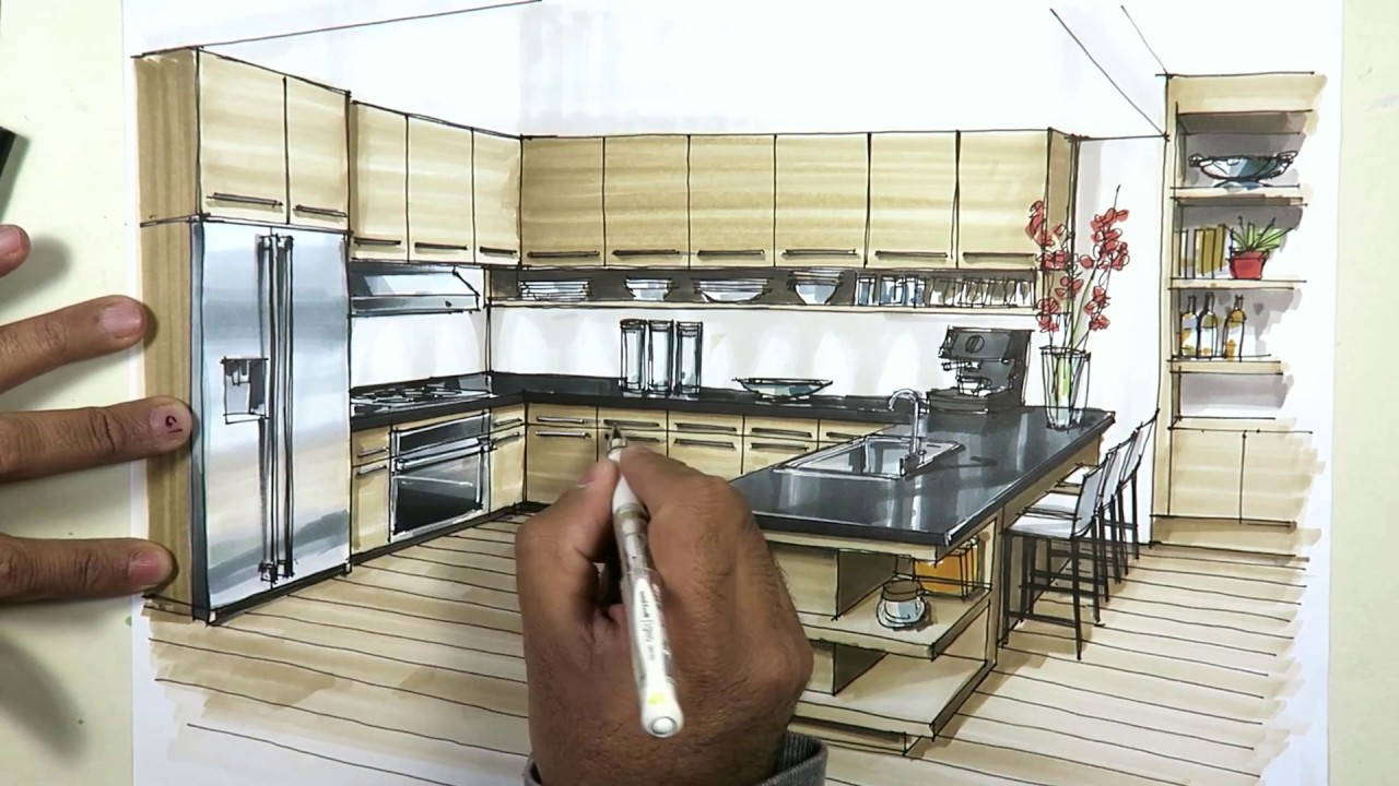 kitchen sketch with markers YouTube