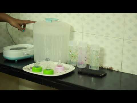 complete feeding bottle cleaning and sterilizing using Philips avent sterilizer  in tamil