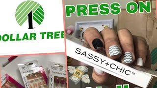 Testing out Sassy chic nails from DOLLAR TREE | $1