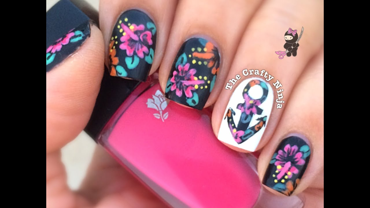 Hibiscus Flower Anchor Nails by The Crafty Ninja - YouTube