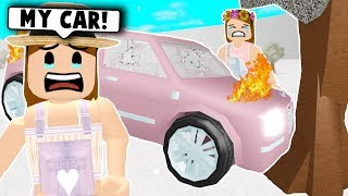 MY BABY LEARNS HOW TO DRIVE... bad idea! (Roblox Bloxburg) Roblox Roleplay