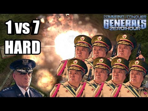 Command & Conquer Generals: Zero Hour - USA Airforce 1 Vs 7 China Infantry [HARD ENEMY]