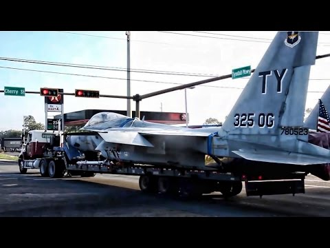 F-15 Fighter Jet Transported Thru Panama City By Big Rig