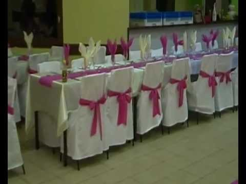 decoration salle de mariage blanc fuchsia ivoire youtube. Black Bedroom Furniture Sets. Home Design Ideas