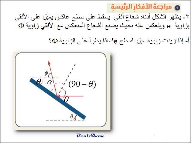 فيزياء مسائل انعكاس الضوءreflection Of Light مراجعة القسم 5 1 عاشر متقدم 3 Youtube