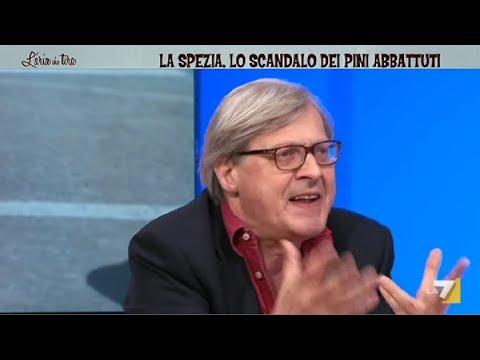 Sgarbi LA7 Incazzato contro Sindaco PD Massimo Federici La Spezia