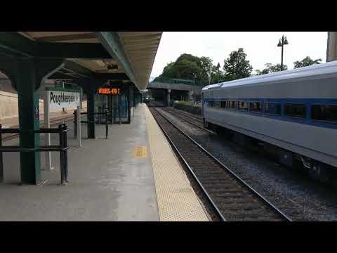 Amtrak Ethan Allen Express arrives at Poughkeepsie Station HD