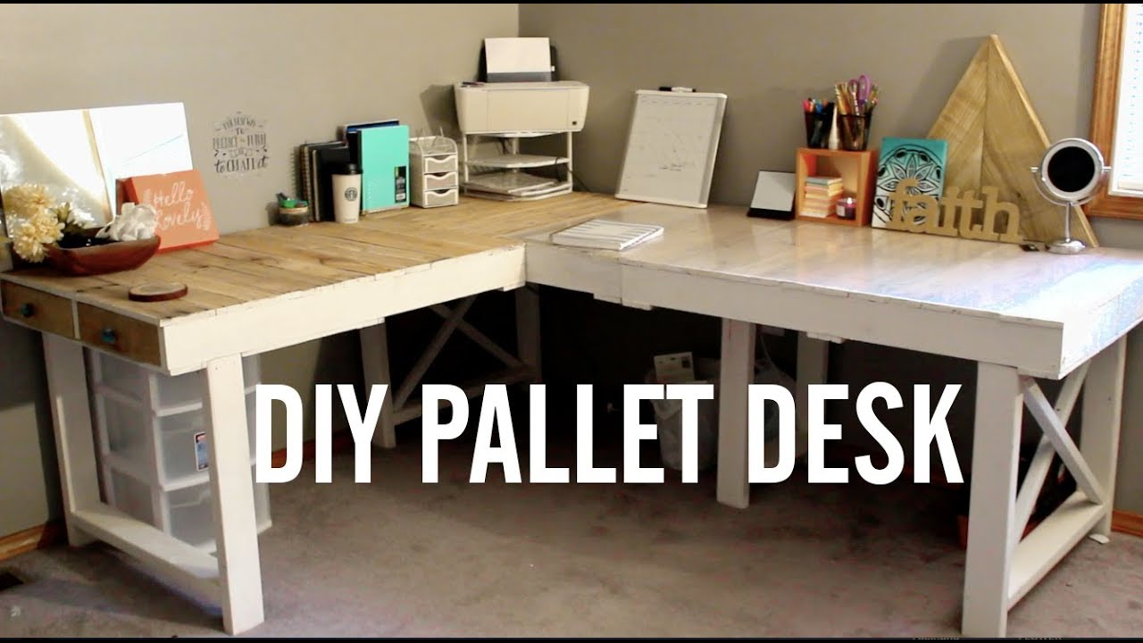 Diy Pallet Desk Upcycling Pallets Youtube