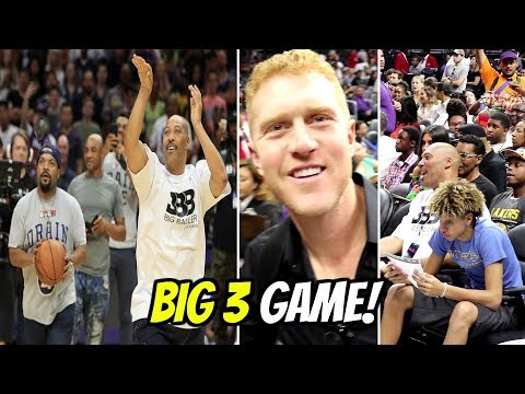 LAVAR BALL vs ICE CUBE SHOOT OUT & MET THE GOAT!! BIG3 BASKETBALL GAME!