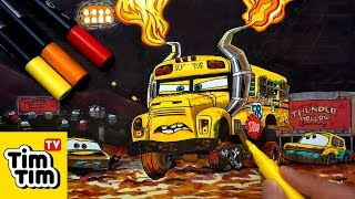 How to draw Miss Fritter Thunder Hollow Smash & Crash CARS 3 | Easy step-by-step for kids | Coloring