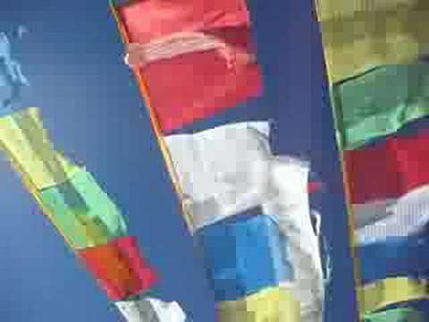Prayer flags seen on the Tibetan Plateau