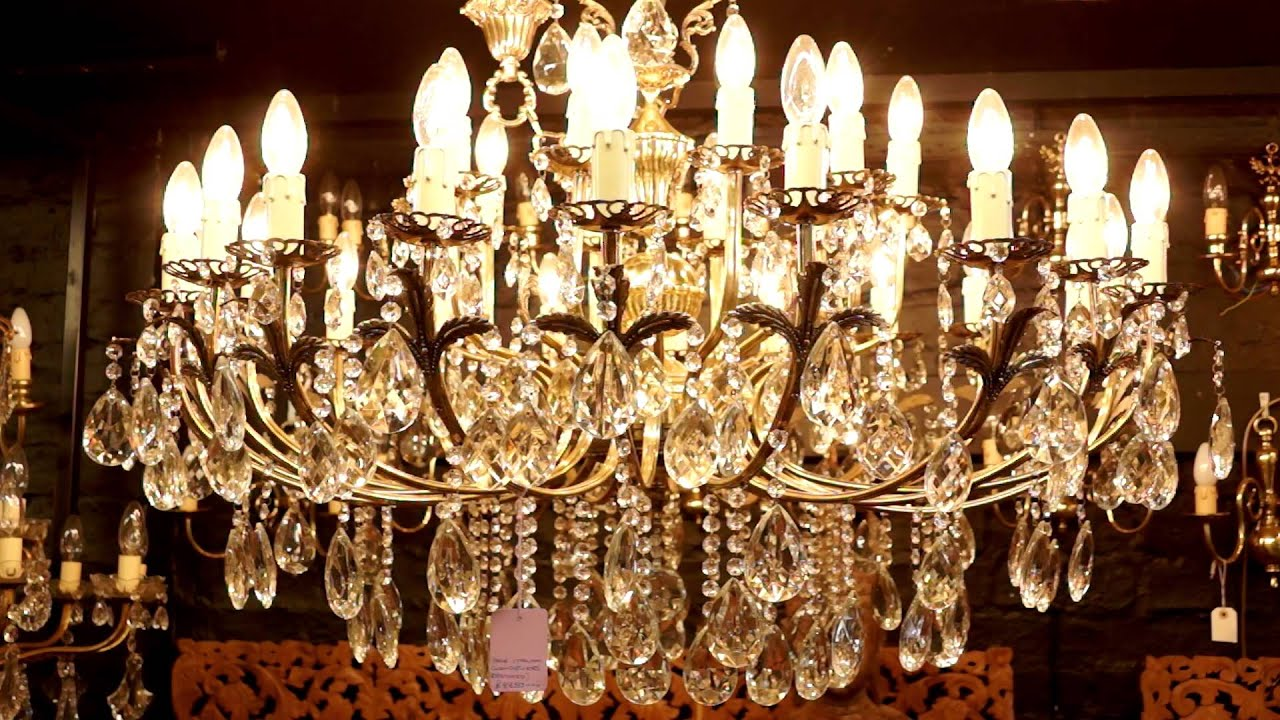Antique Crystal Chandeliers - YouTube