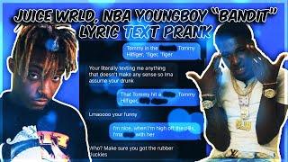 "JUICE WRLD, NBA YOUNGBOY ""BANDIT"" LYRIC TEXT PRANK ON WHITE PARTY GIRL"