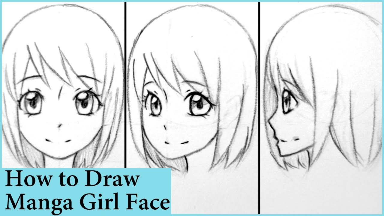 How to draw manga girl face in front 3 4 and side view
