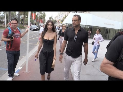 Emily Ratajkowski walks on the Croisette in Cannes