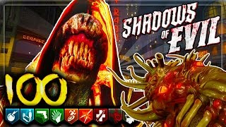 'SHADOWS OF EVIL' ROUND 100 FULL COMEPLETION GAMEPLAY GUIDE! - Black Ops 3 Zombies!