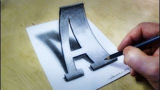 Only One Pencil - How to Draw 3D Letter A in Western Style Font
