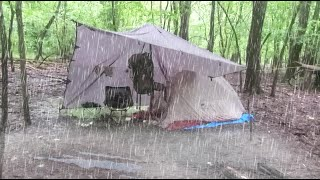 Solo Overnight Camping iฑ the RAIN | Alone in the Woods | Tarp Set up | Campfire | Storm