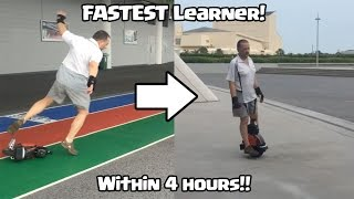 Fastest Student! Learn Single wheel Electric Unicycle within 4 hours!
