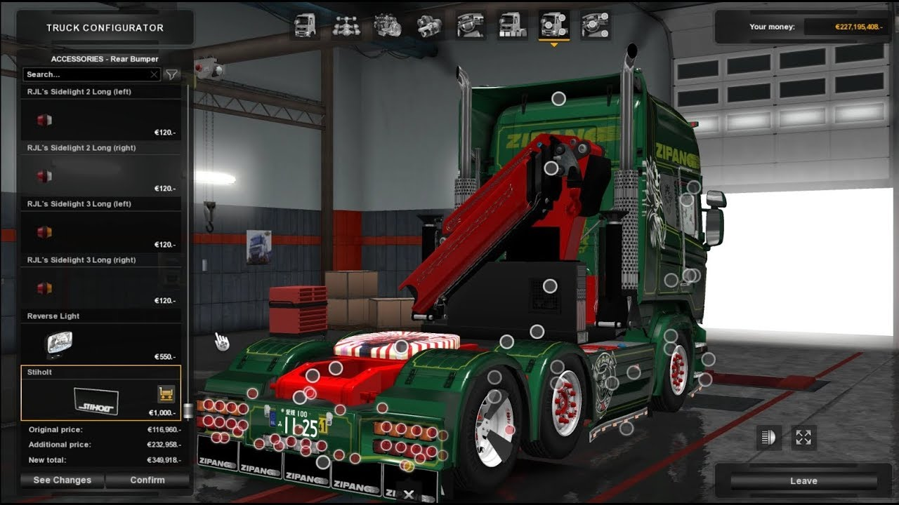 Ets2 1 28 Scania Â�カニア Rjl Tuning With Crane Zipang