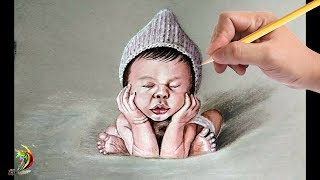 Realistic Baby Drawing With Coloured Pencils | How To Draw Baby Face With Pencil Colours