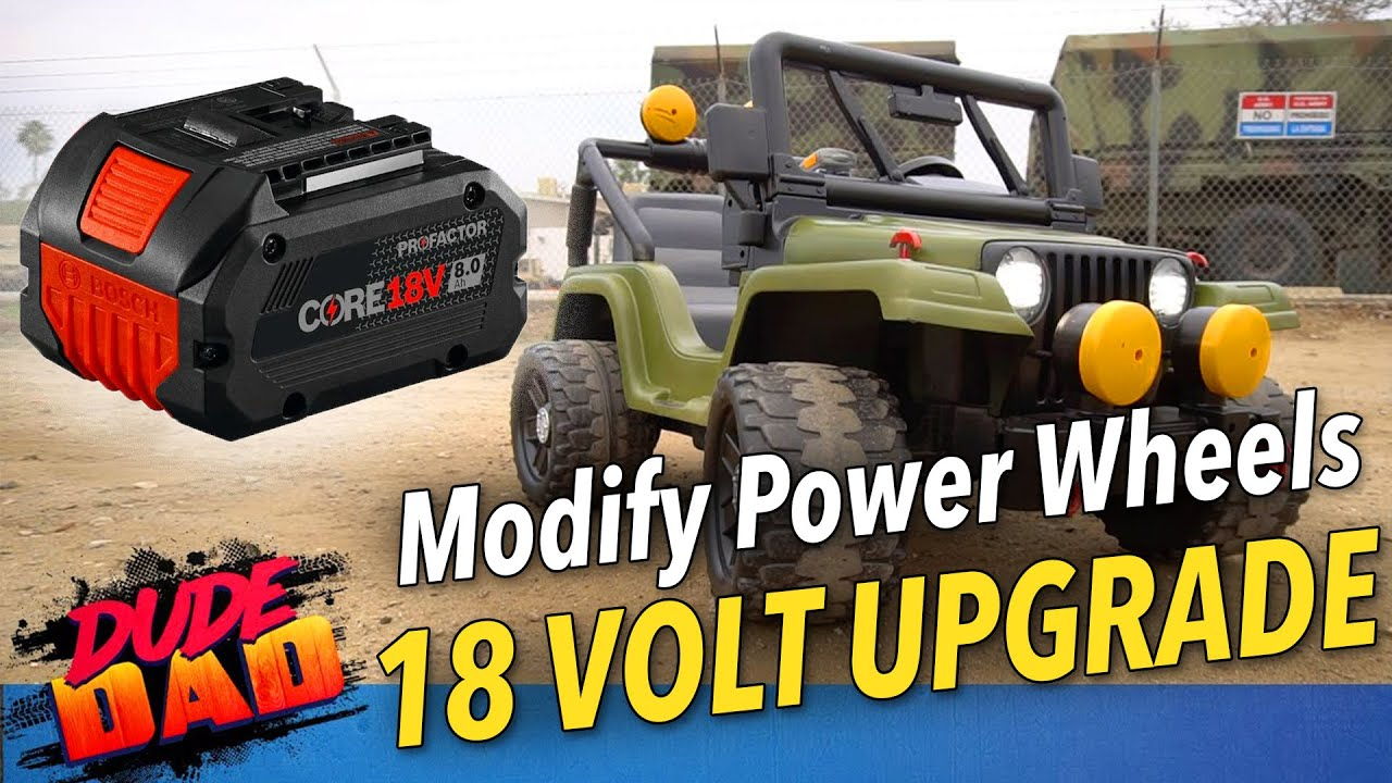 EASY - How To Modify 12 Volt Power Wheels To 18 Volt power tools battery   Jeep 18 Volt Upgrade