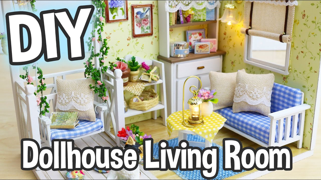 Living Room Diy Diy Miniature Dollhouse Kit Cute Living Room Roombox With Working