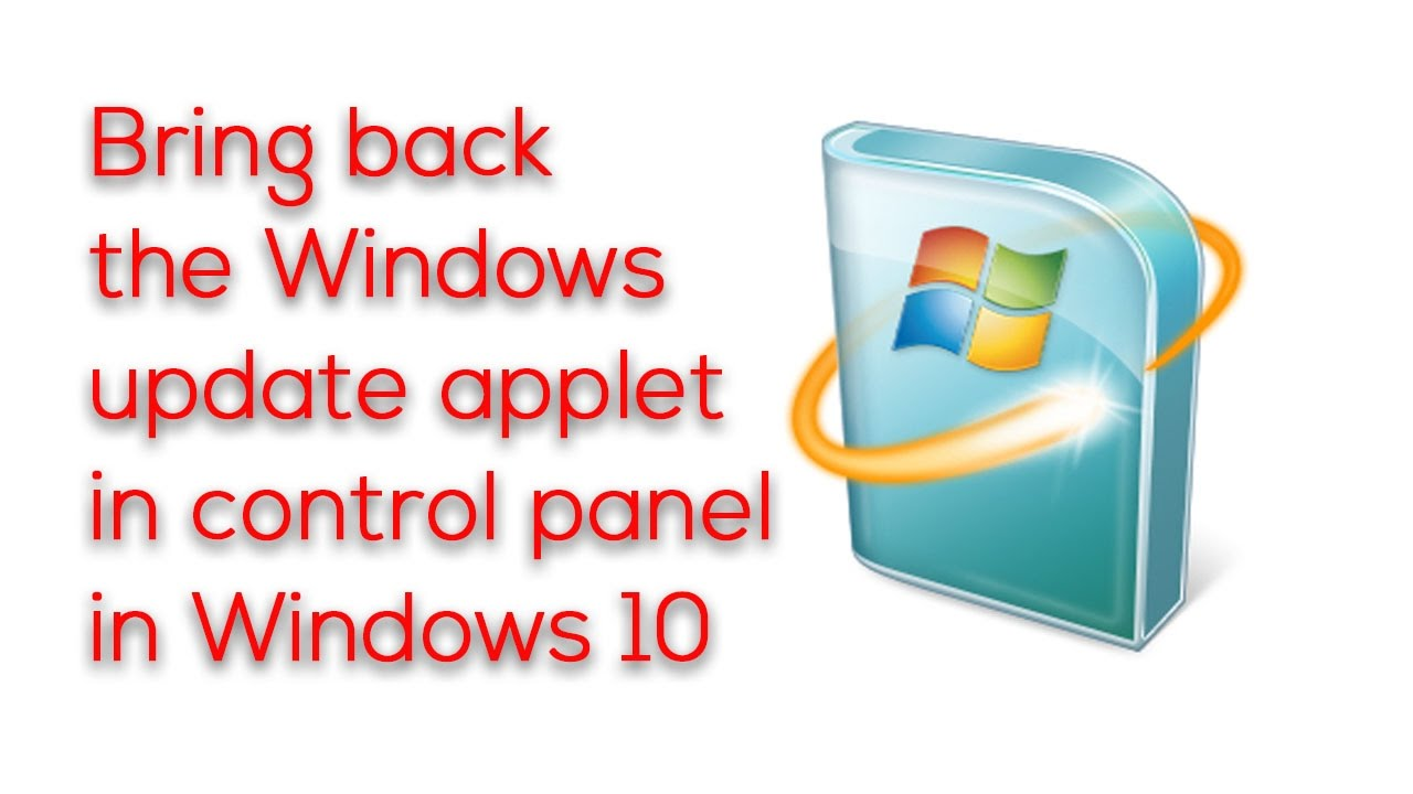 where is control panel on windows 10 update