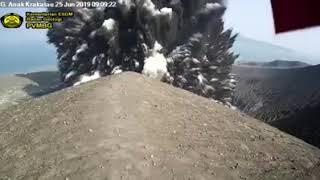 Anak Krakatau Eruption 25 June 2019 from PVMBG Camera