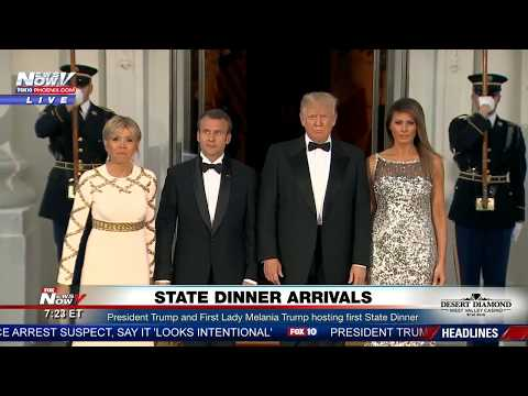 FIRST STATE DINNER: President Trump and First Lady Melania Trump Welcome French President Macron