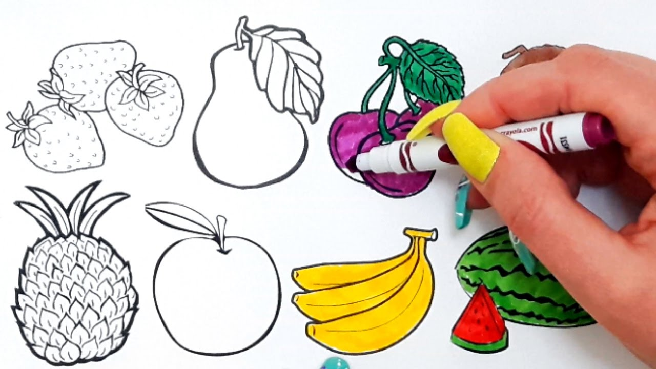 Learning Colors With Fruits Coloring Book Learn Names Of Toy Velcro Cutting