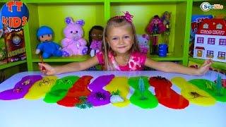 РАЗНОЦВЕТНАЯ РАДУГА и Ярослава! ЛИЗУНЫ С ПАУКАМИ Игрушки СЛИЗЬ для детей Распаковка Unboxing Toys