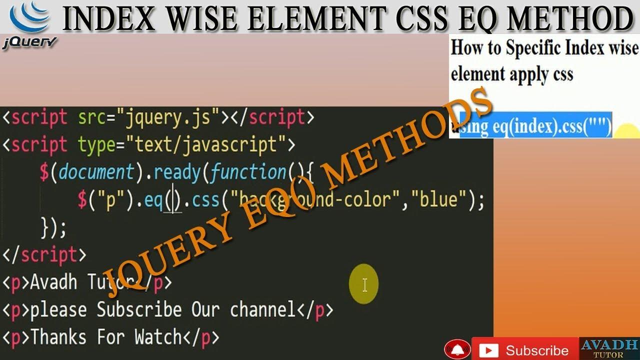 jquery eq method || index wise element css eq method || jquery tutorial ||  avadh tutor