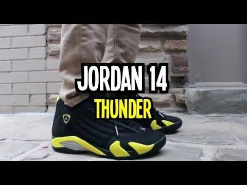 e6ca2f14d8e discount air jordan 14 thunder on feet 2584a 9e699