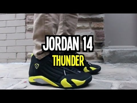 new concept b3f2b c1509 Jordan 14  THUNDER  On-Feet! - YouTube